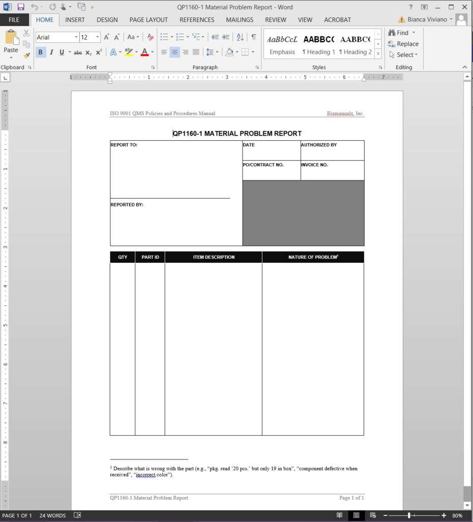 iso 9001 2015 quality manual template